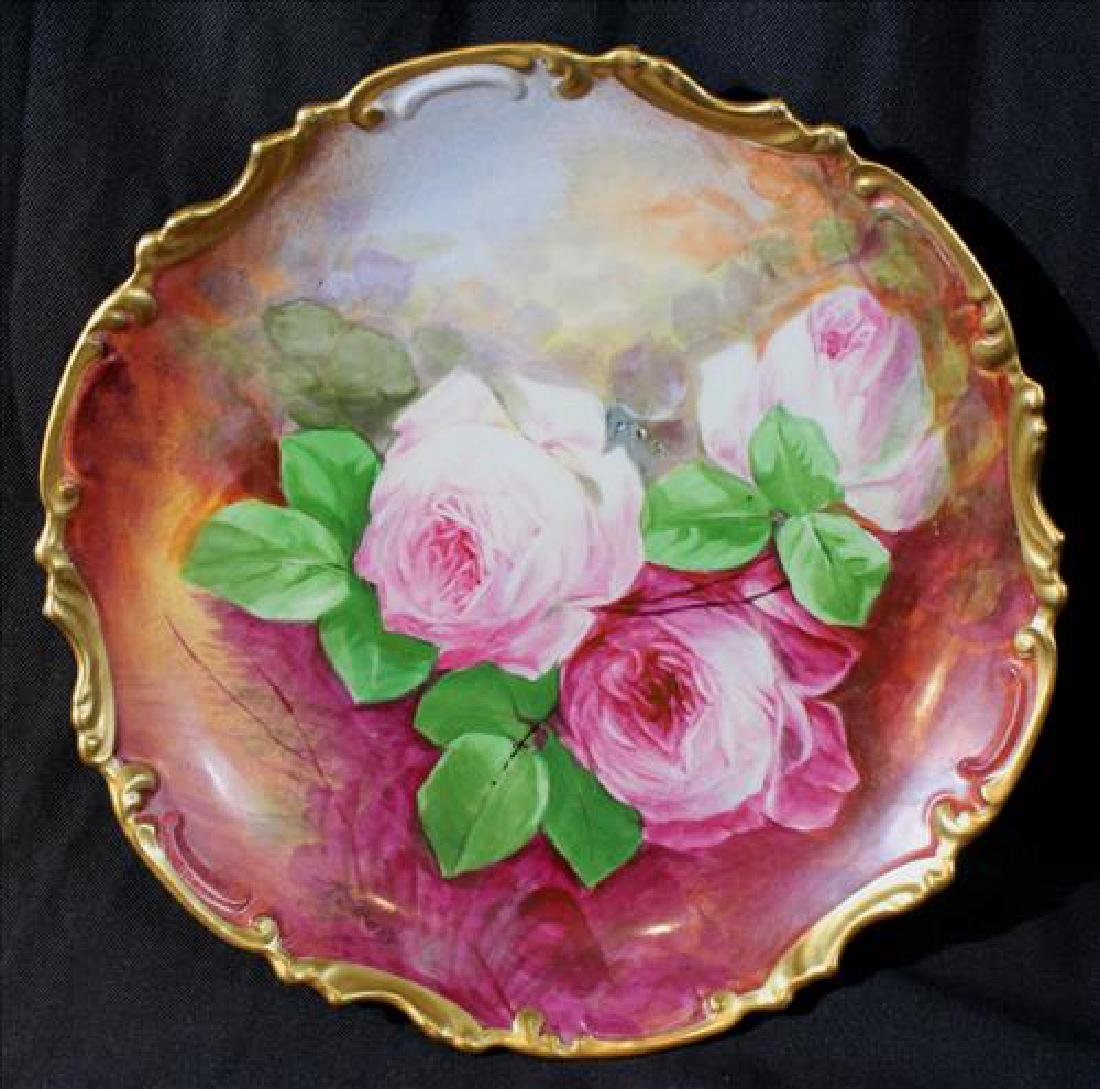 Hand painted Limoges charger with roses, 11.5 Dia.