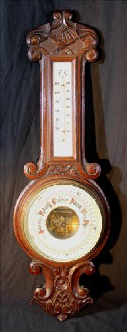 Victorian barometer in oak frame, 29 in. T.