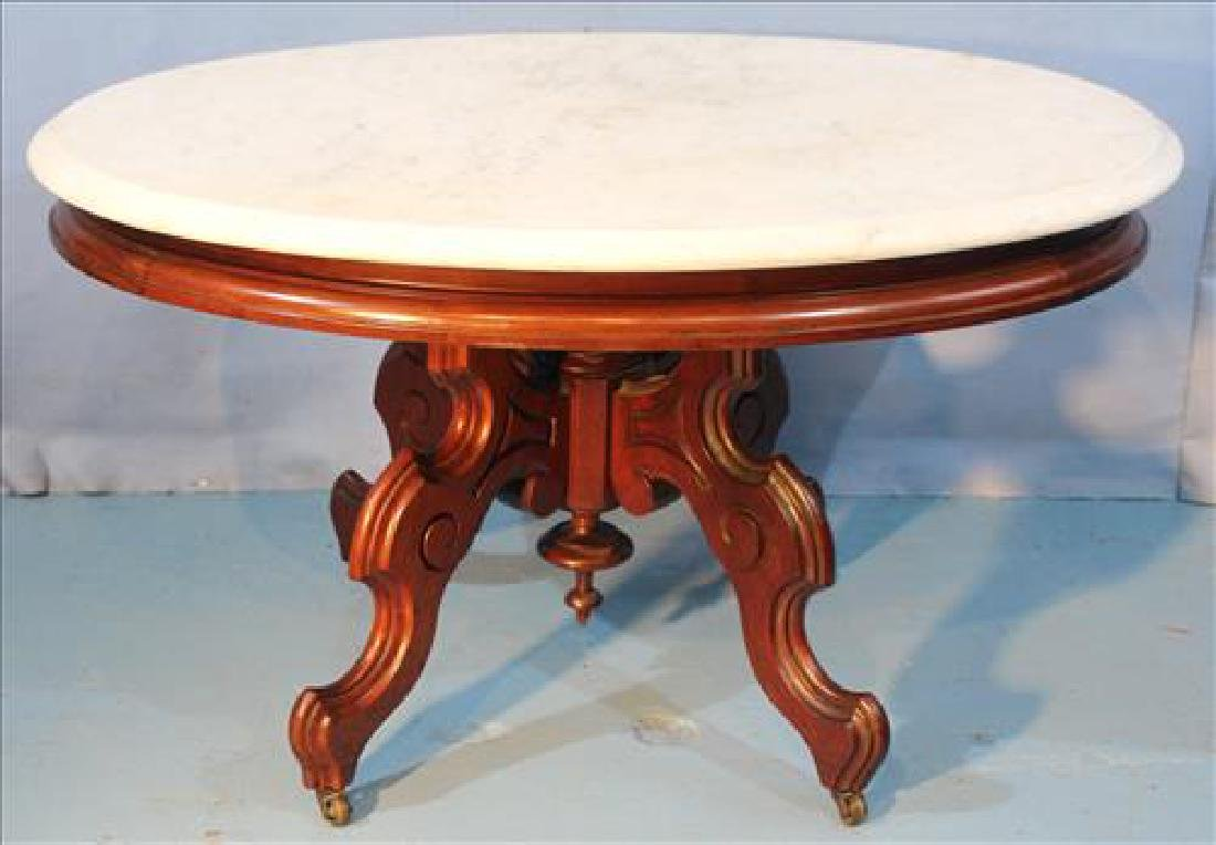 Walnut Victorian coffee table with marble top