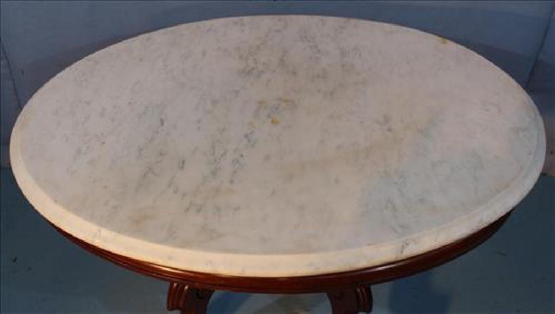 Walnut Victorian coffee table with marble top - 2