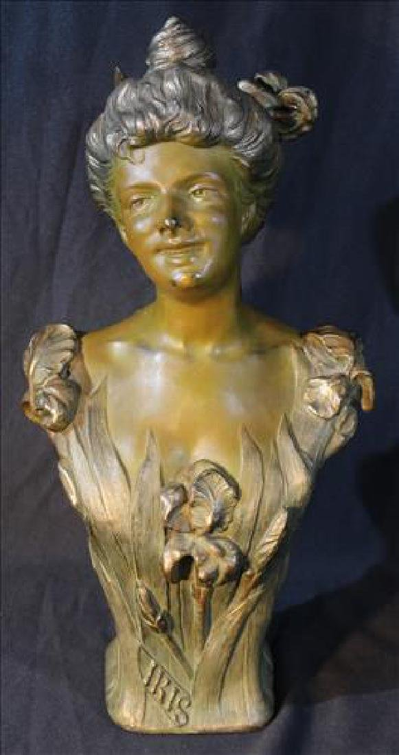 Solid brass bust of lady marked Bradley & Hubbard
