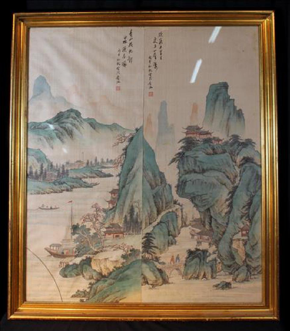Antique 2 part Oriental painting on silk, 33 x 39