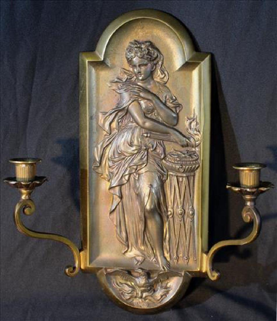 Single art Nouveau solid brass sconce, 15 in. T.