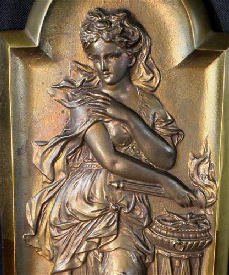 Single art Nouveau solid brass sconce, 15 in. T. - 2