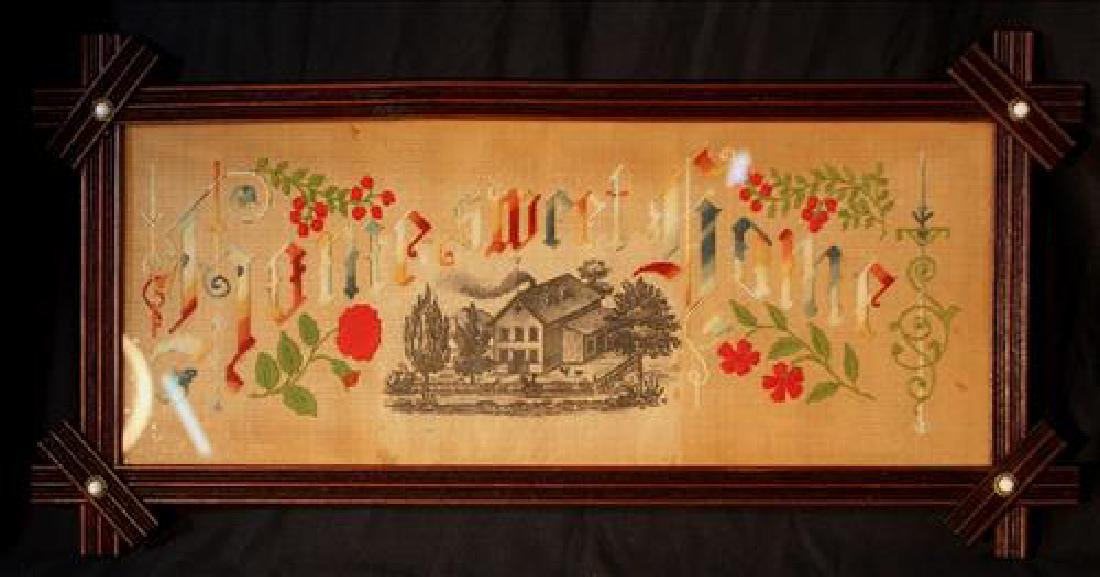 Antique needlepoint, Home Sweet Home, in walnut frame