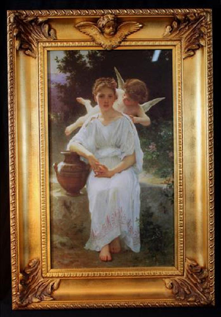 Print by Bouguereau of woman with cupid, 32 x 22
