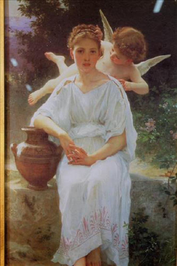 Print by Bouguereau of woman with cupid, 32 x 22 - 2
