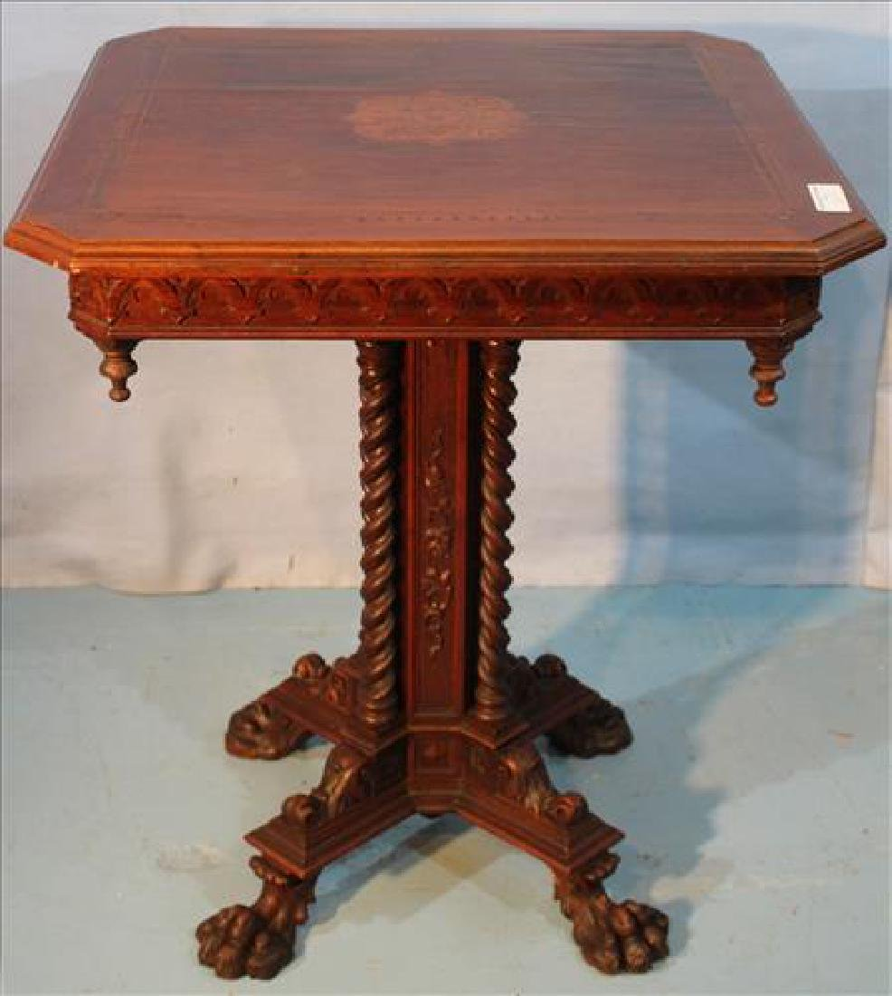 Unusual square walnut Victorian table w claw feet