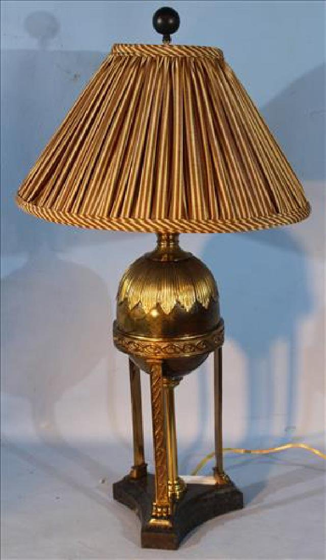 Quality brass and faux marble lamp, 28 in. T.
