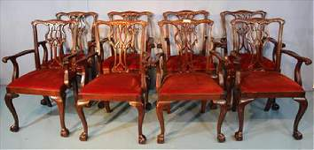 Set of 8 Chippendale style mahogany arm chairs