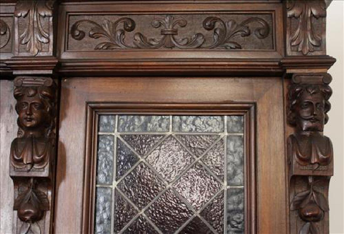Oak heavily carved 3 door bookcase with glass doors - 4