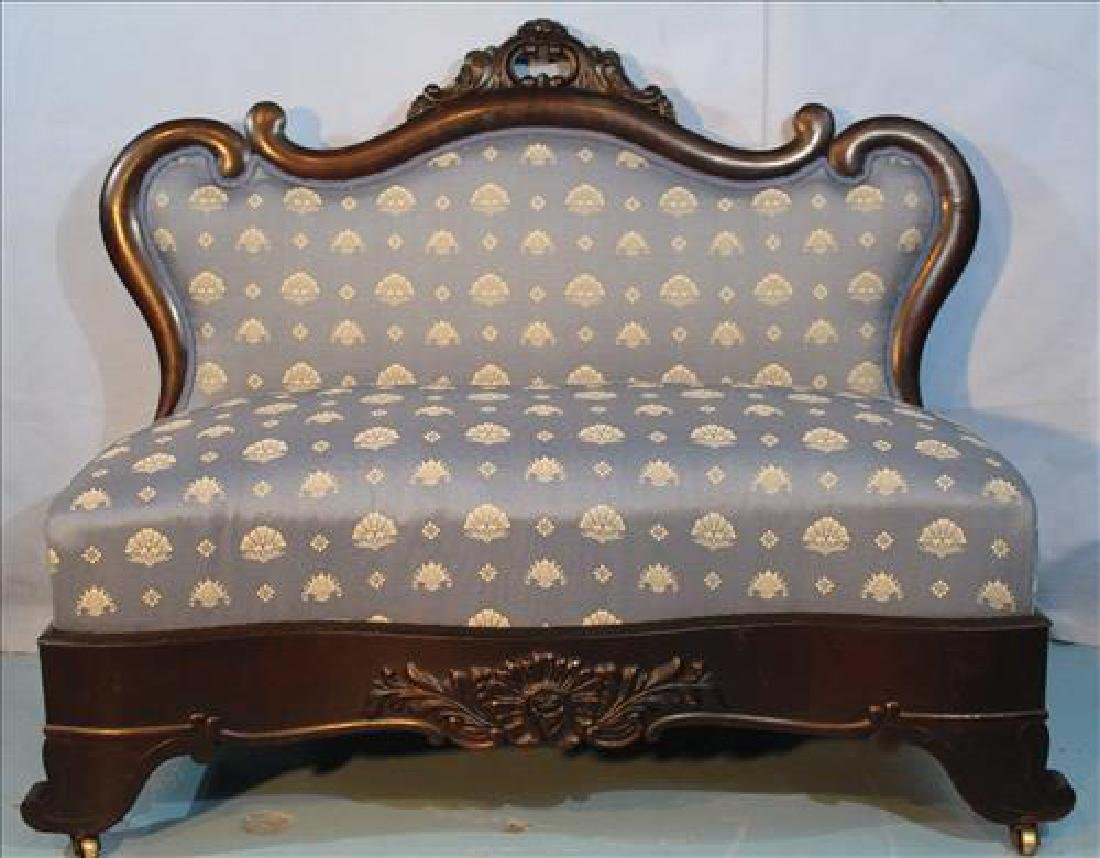 Mahogany Empire bustle bench with curved back