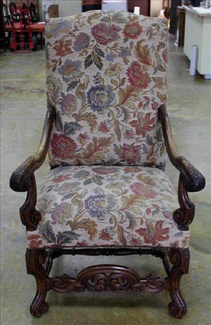 Mahogany fireside chair with tall back