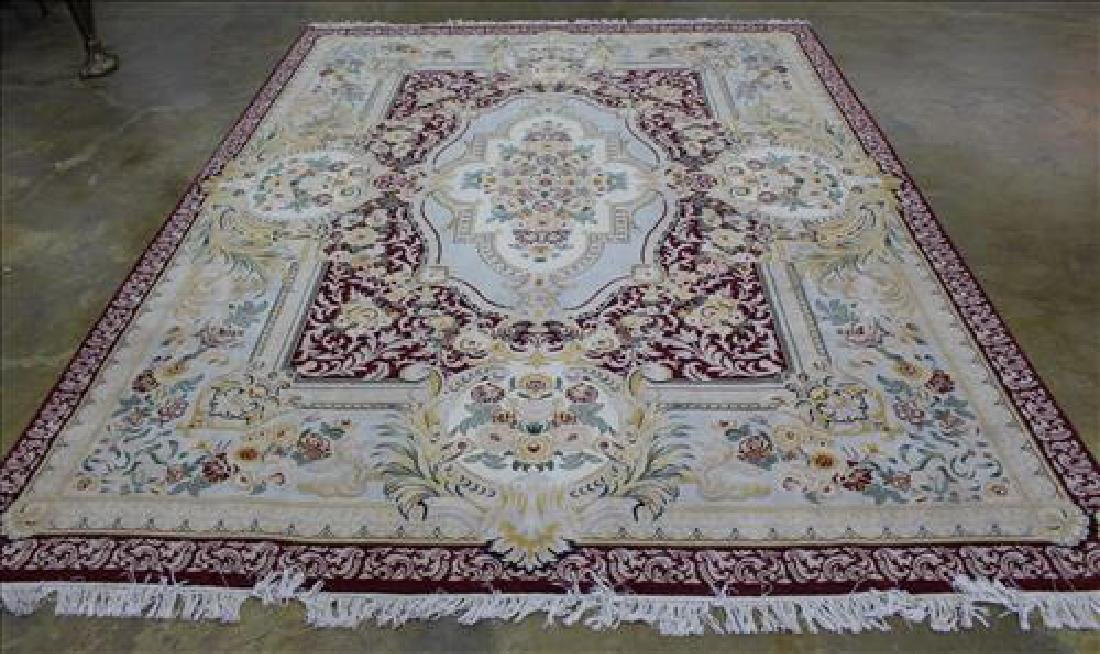 Red and gold Aubusson wool rug, 9 x 12