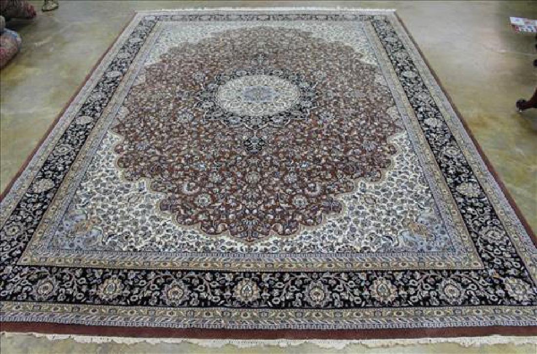 Brown and beige wool rug, 9 x 13