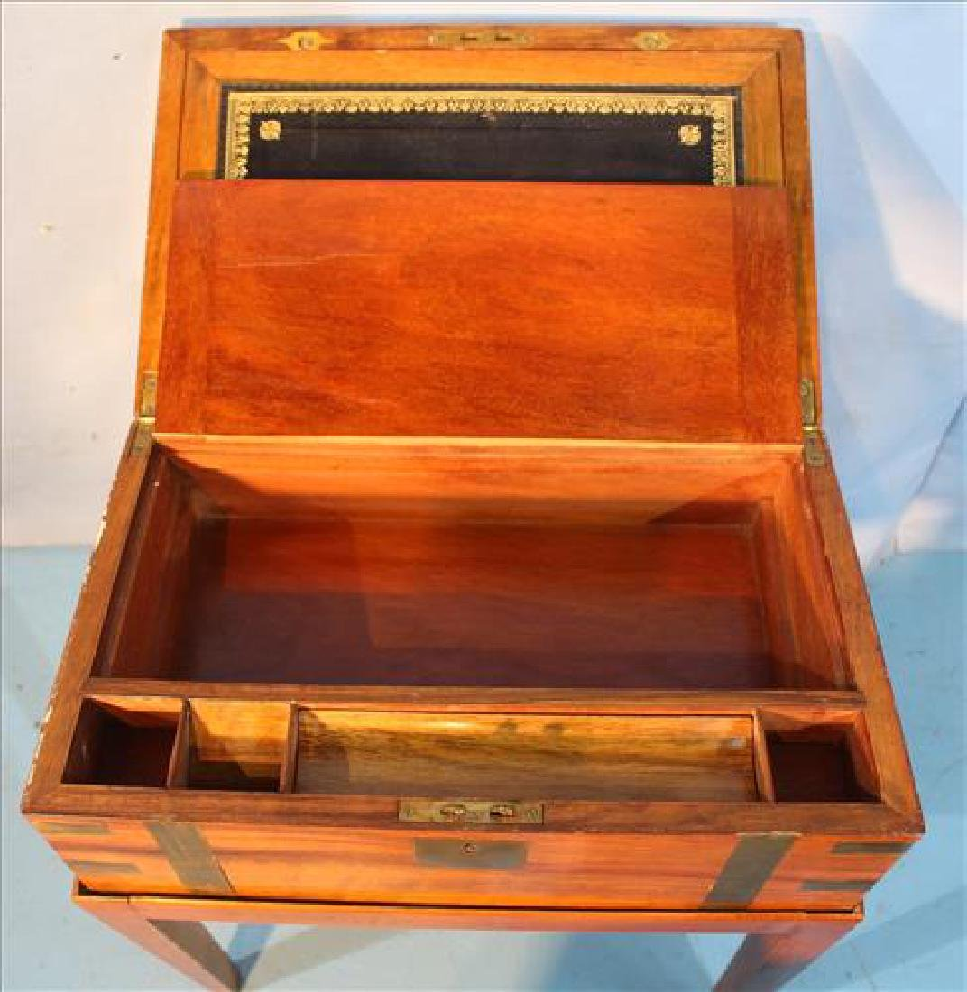 Mahogany lap desk on fitted stand - 3