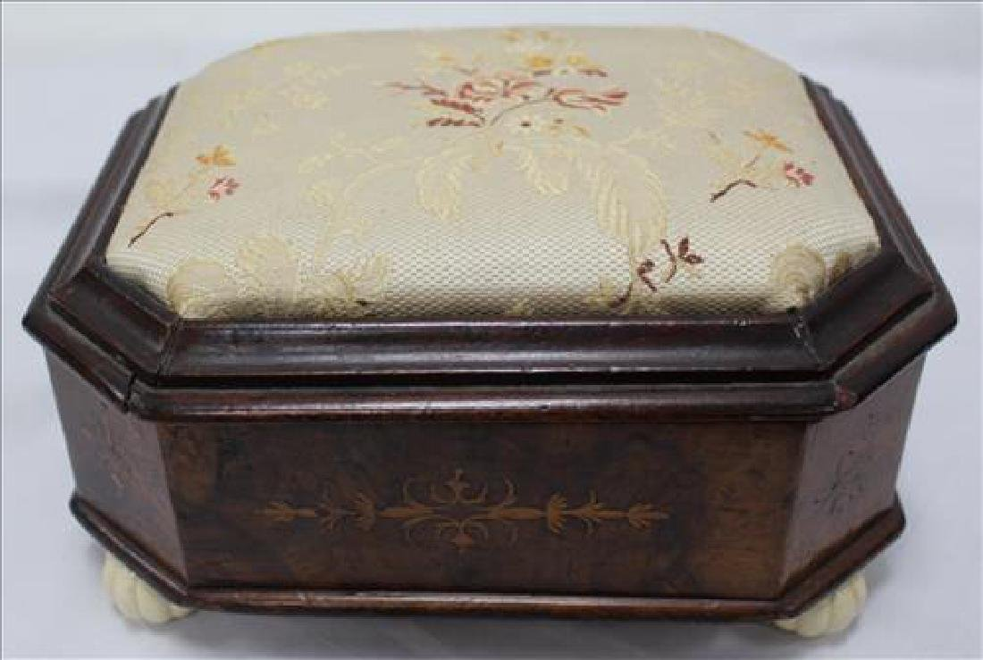 Walnut Victorian sewing box with pin cushion top