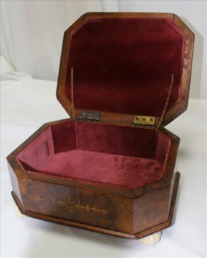 Walnut Victorian sewing box with pin cushion top - 3