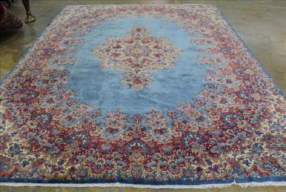 Turquoise hand made Kerman rug from Cedarwyeke, 9 x 14