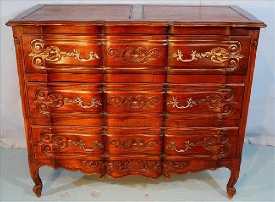 Country French walnut 3 drawer chest