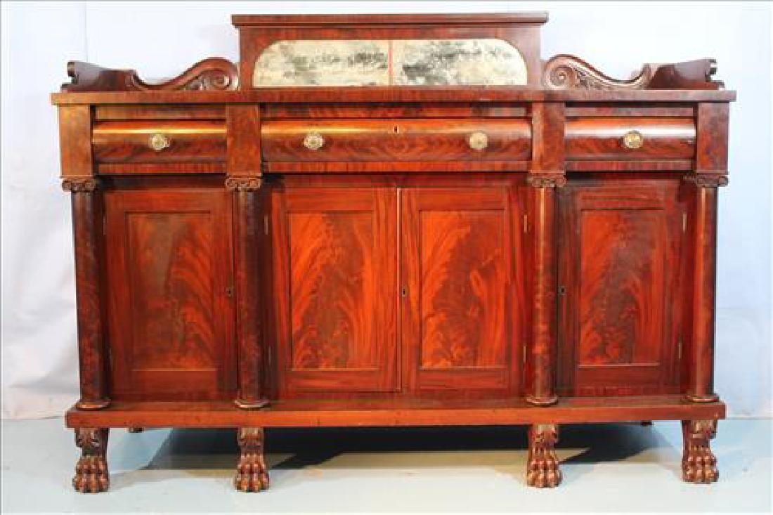 Large mahogany Empire sideboard with claw feet