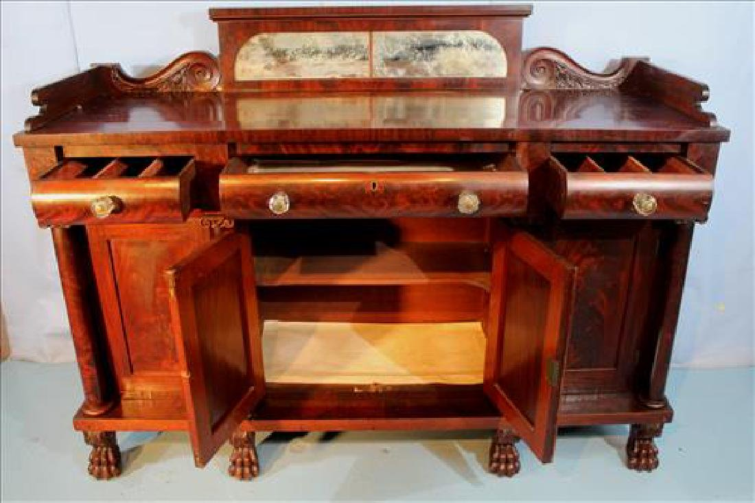 Large mahogany Empire sideboard with claw feet - 5