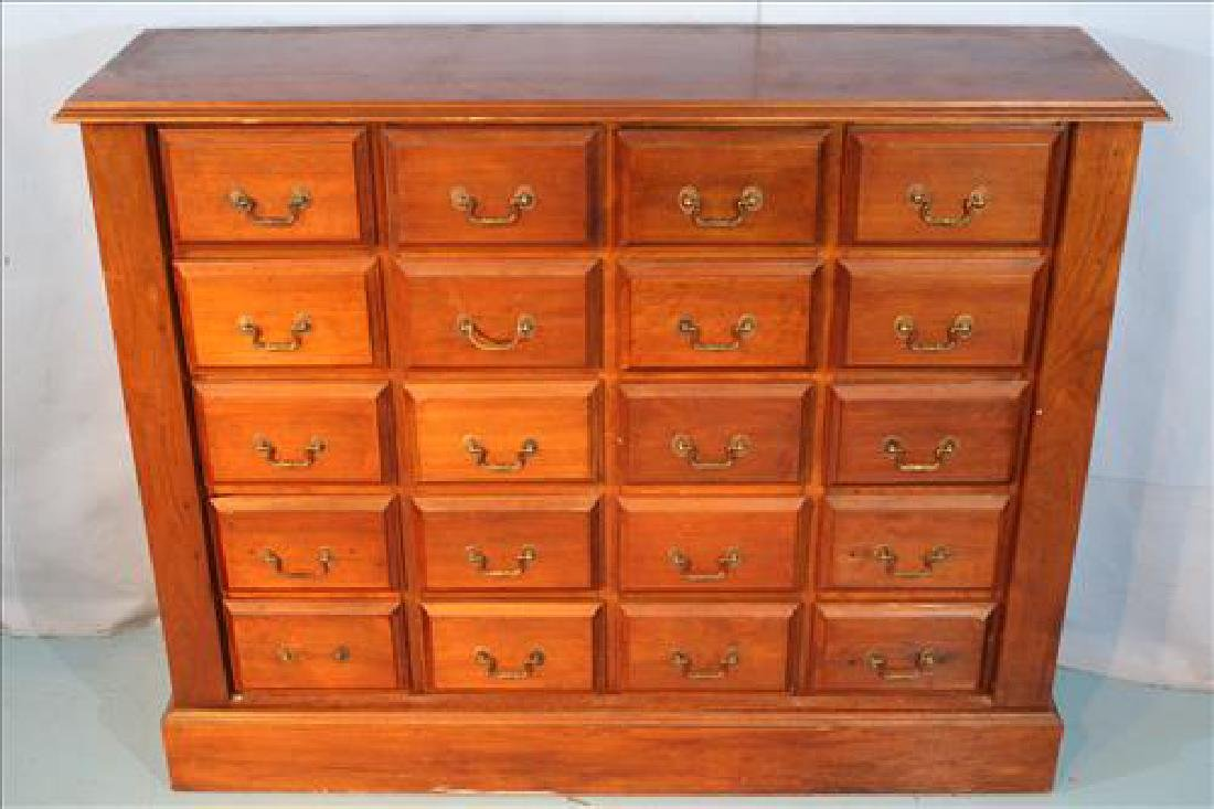 Solid walnut antique apothecary cabinet w 20 drawers