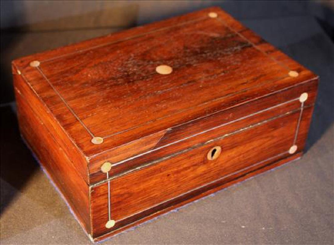 Pair of rosewood jewelry boxes with lift out trays