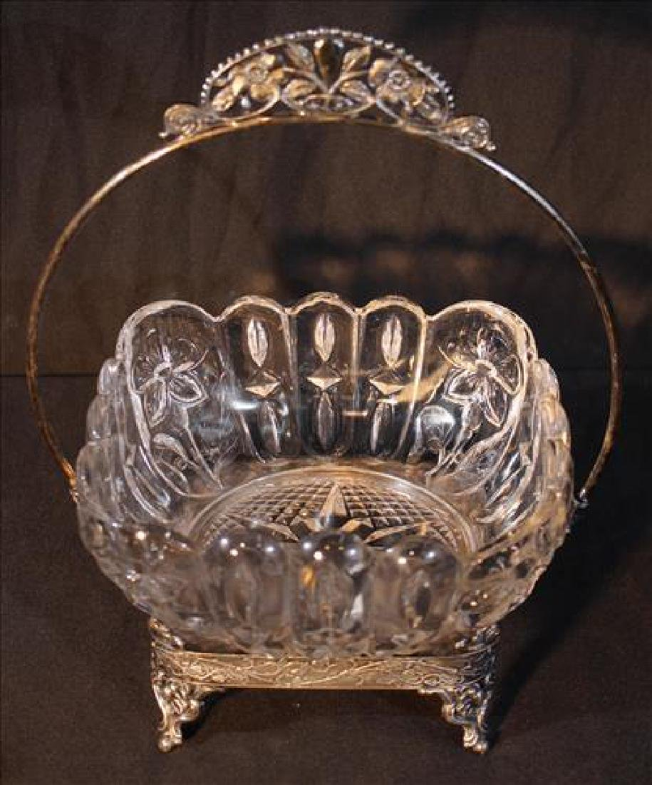 Victorian silver-plate brides basket, 11 in .T, 6.5 in.