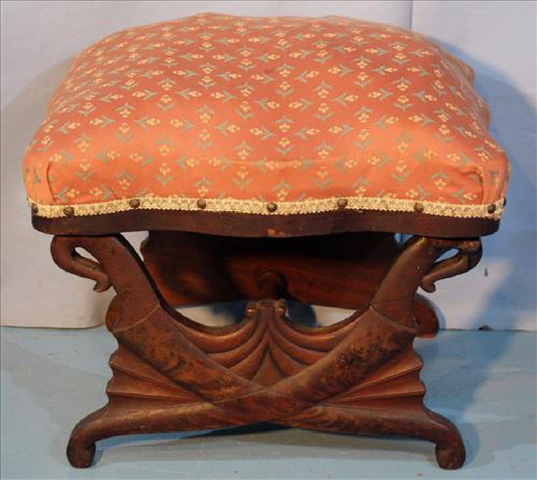 Mahogany Empire foot stool with supports on each end