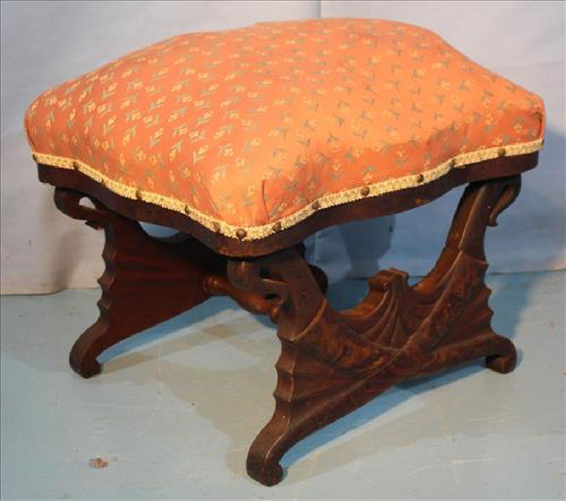 Mahogany Empire foot stool with supports on each end - 3