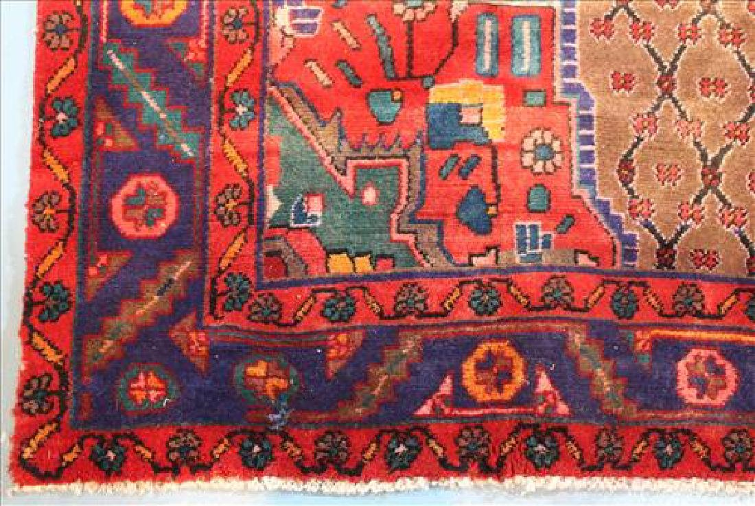 Handmade wool Persian rug, red and blue, 5 x 9.1 - 2