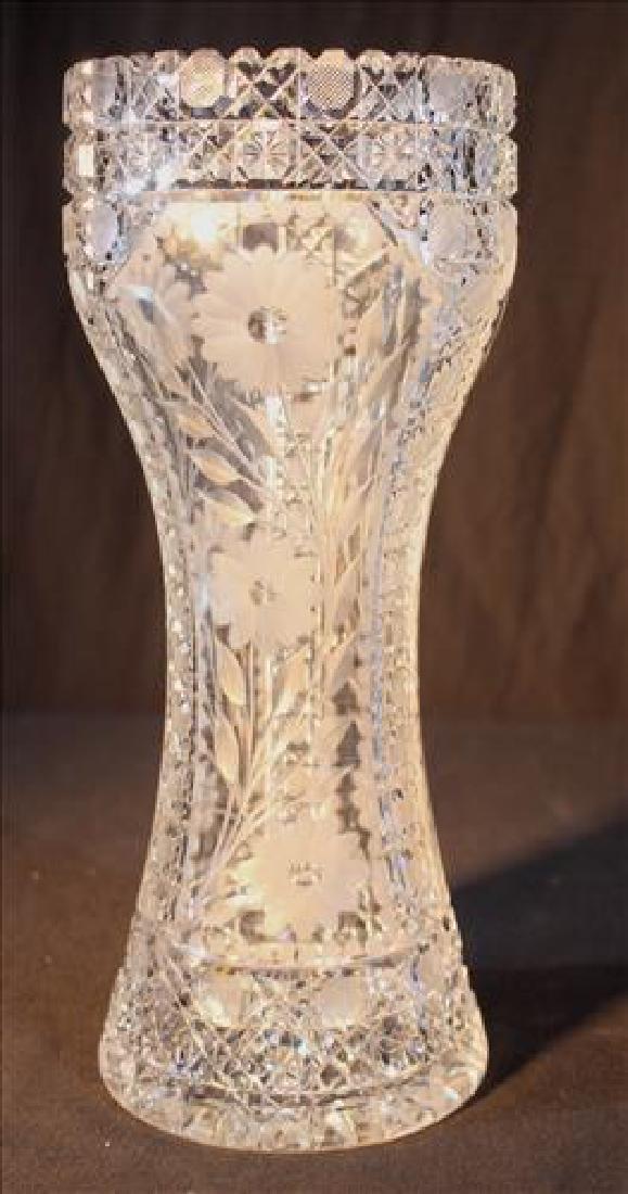 Cut glass flower vase, 12 in. T.