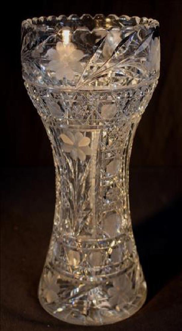 Cut glass flower vase, 12 in .T.