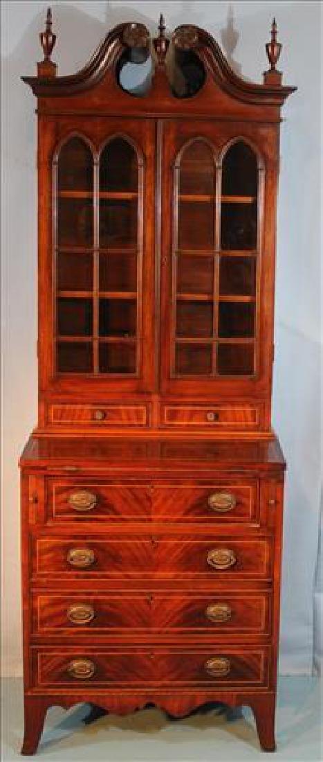 Small mahogany 2 piece slant front secretary