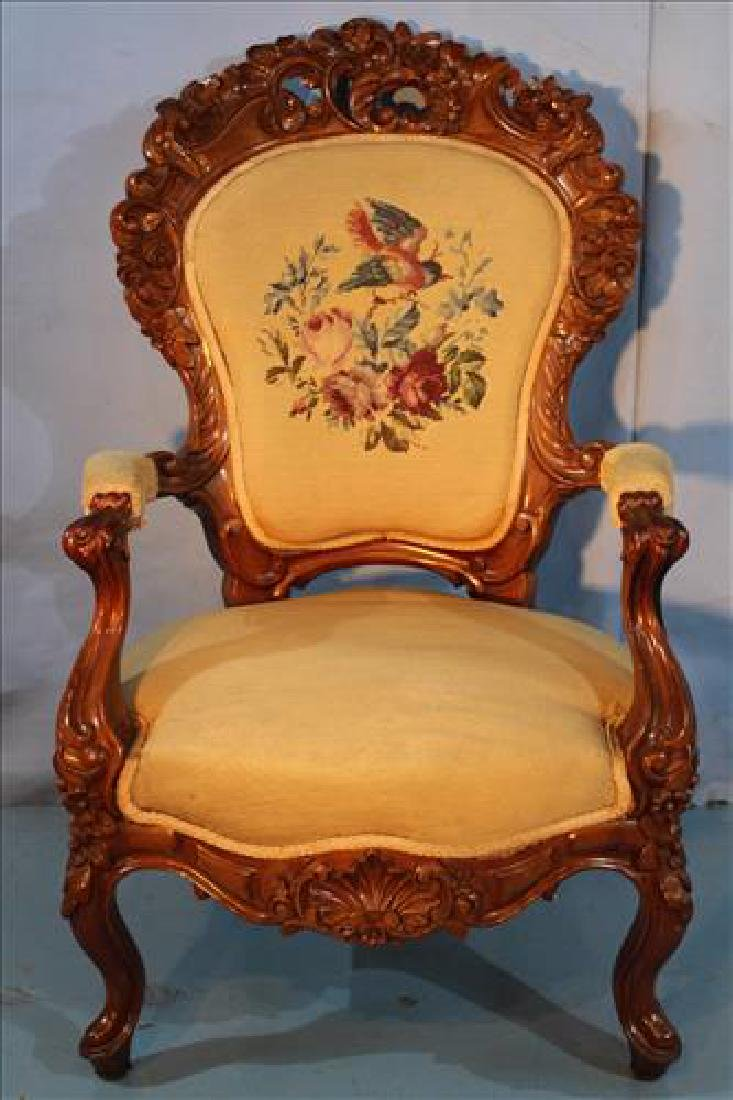 Pierced carved walnut Victorian parlor chair w
