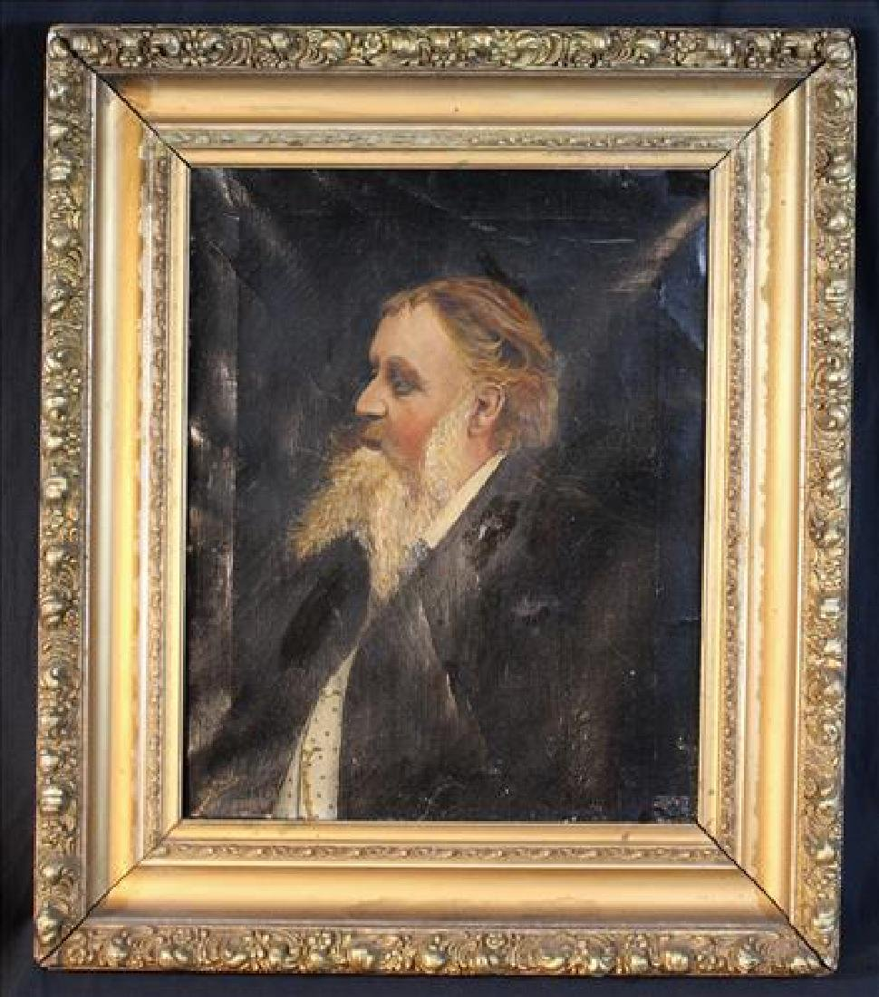Portrait oil on canvas of bearded man in gold frame