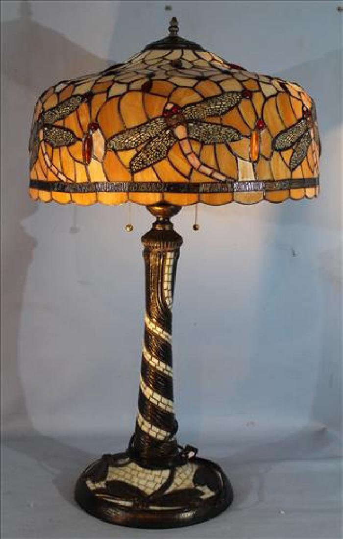 Leaded stain glass lamp with dragon flies, 35 in. T.