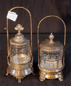 Pair Victorian silverplate pickle castor 11 in T 4