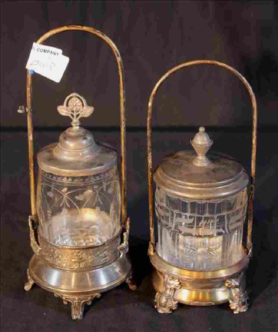 Pair Victorian silver-plate pickle castor, 11 in. T, 4