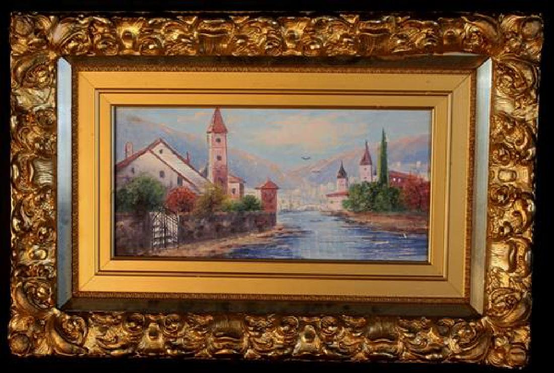 Small oil on canvas in gold frame of sea side scene
