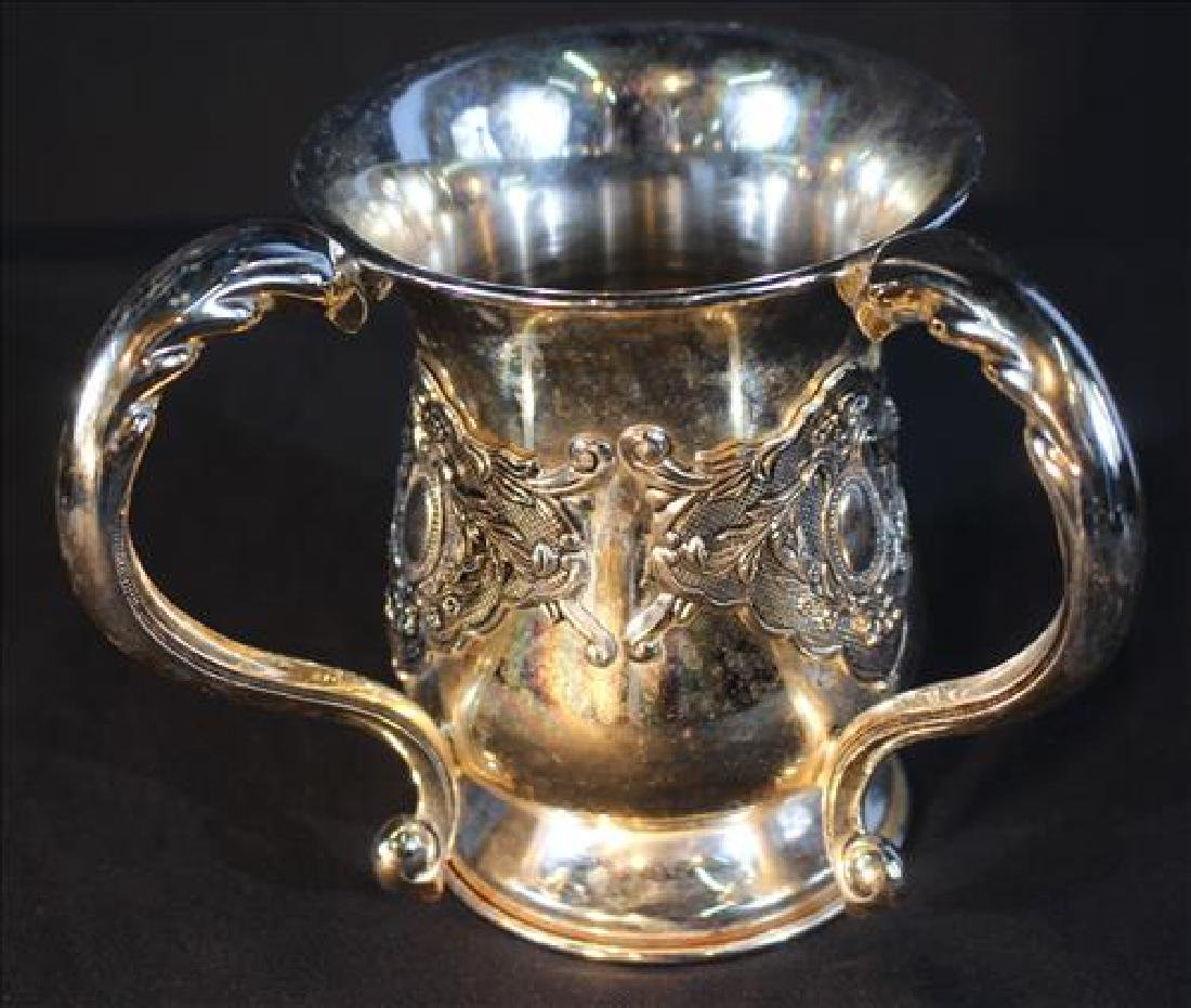 2 handle silver-plate loving cup, 6 in. T, 5 in. Dia.