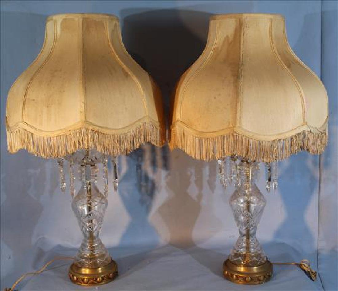 Pair of glass lamps with prisms, 32.5 in. T.