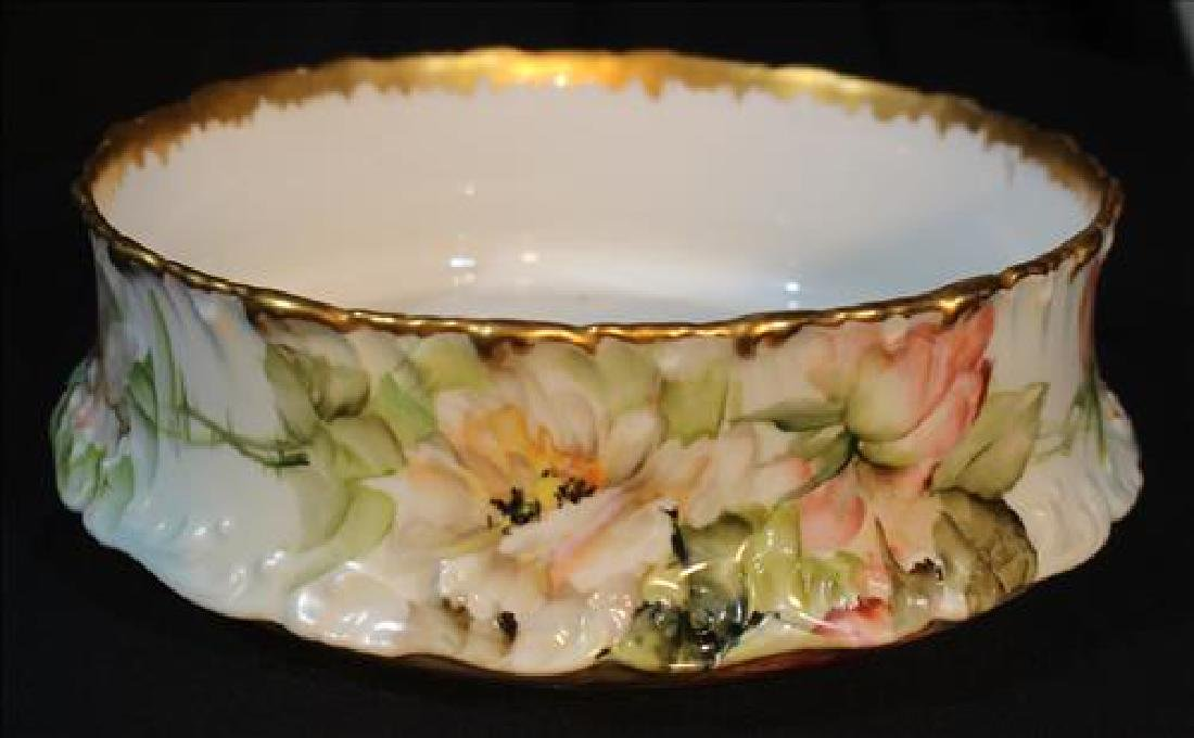 T.V. Limoges hand painted bowl with flowers