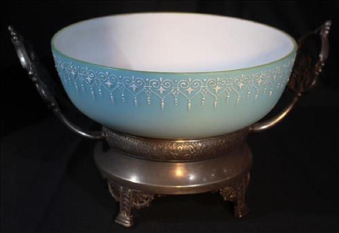 Blue Victorian case glass brides bowl on silver-plate