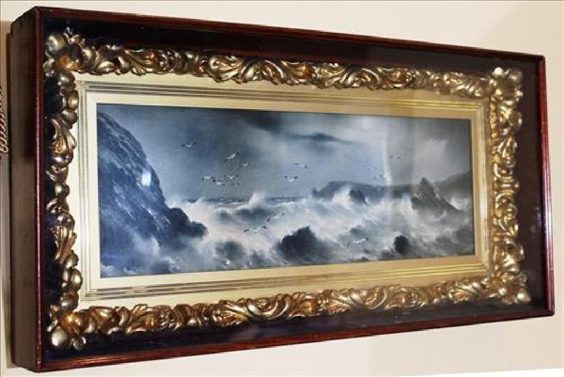 Gold frame oil on canvas of ocean scene in shadowbox