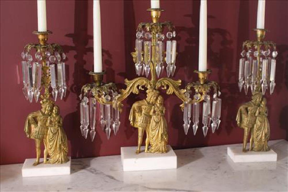 Victorian 3 piece brass and marble girandoles set