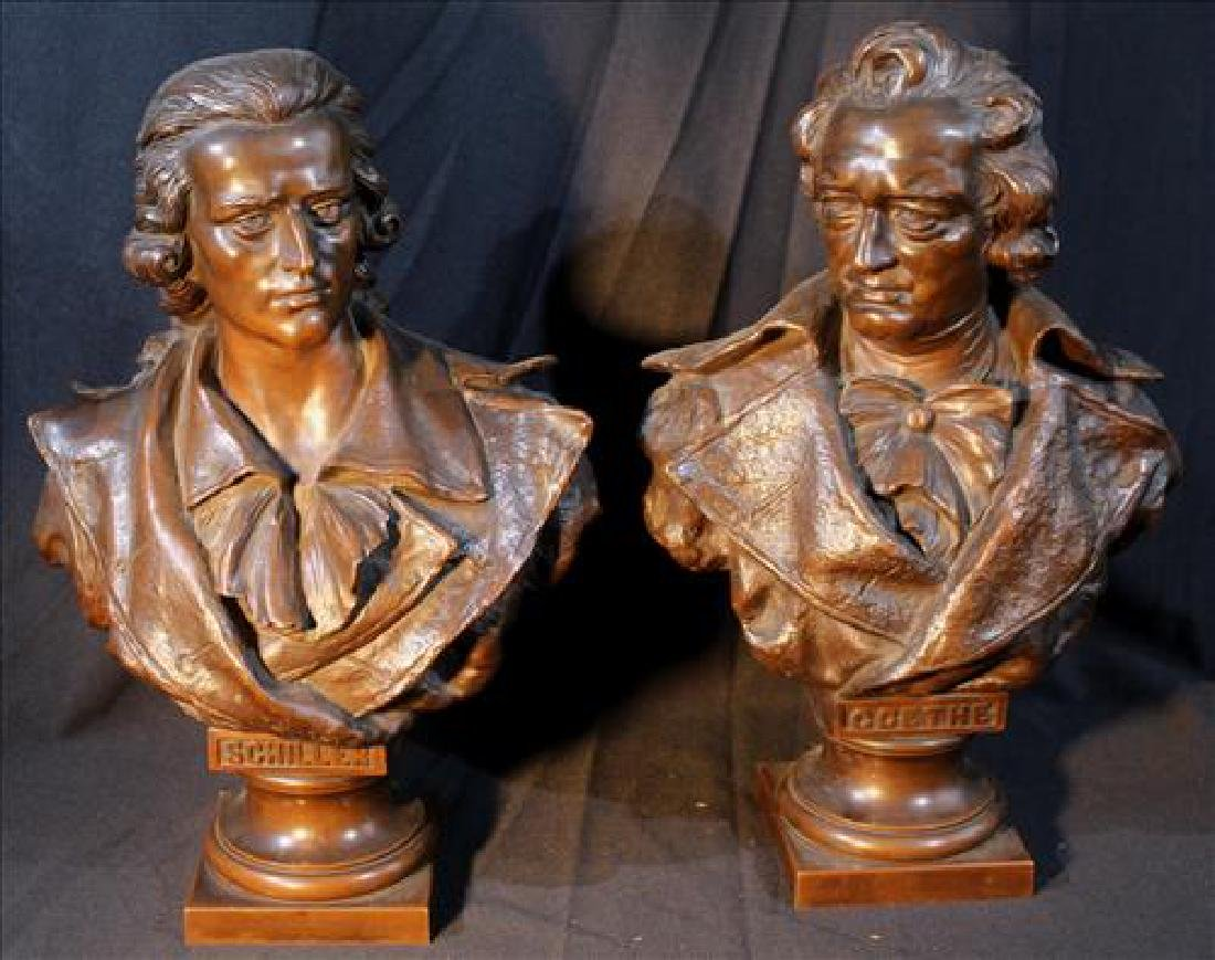 Pair bronze bust, one Schiller and one of Goethe
