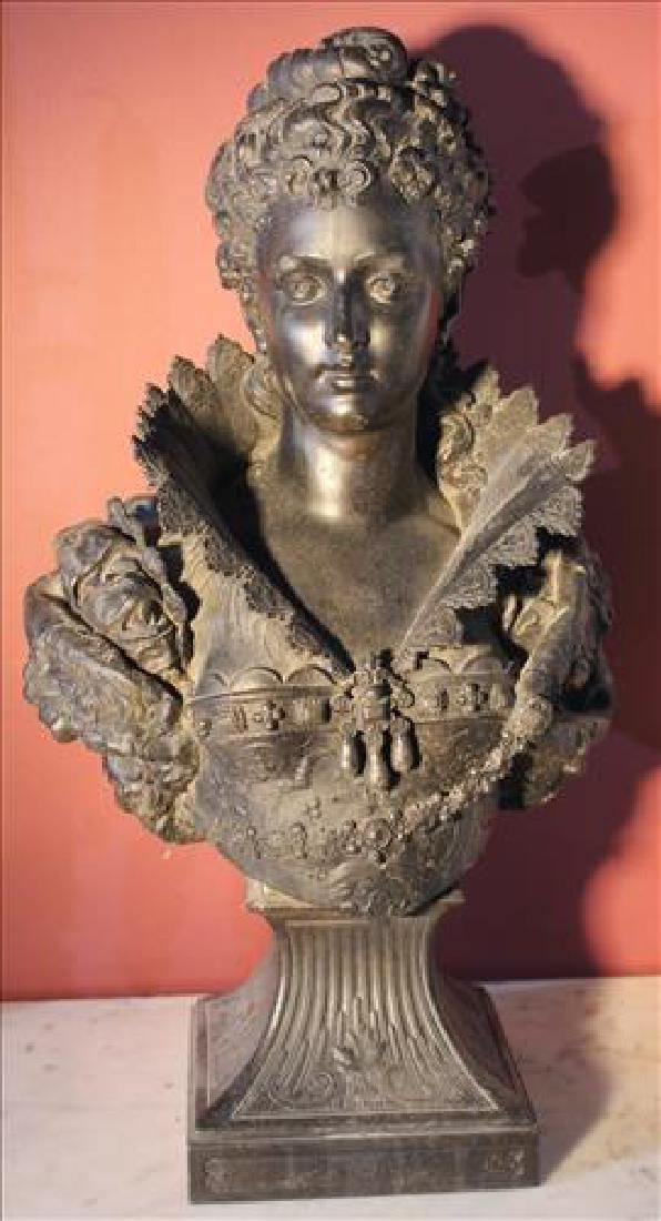 Pot metal bust of Victorian woman, 21 in. T, 11  in. W.
