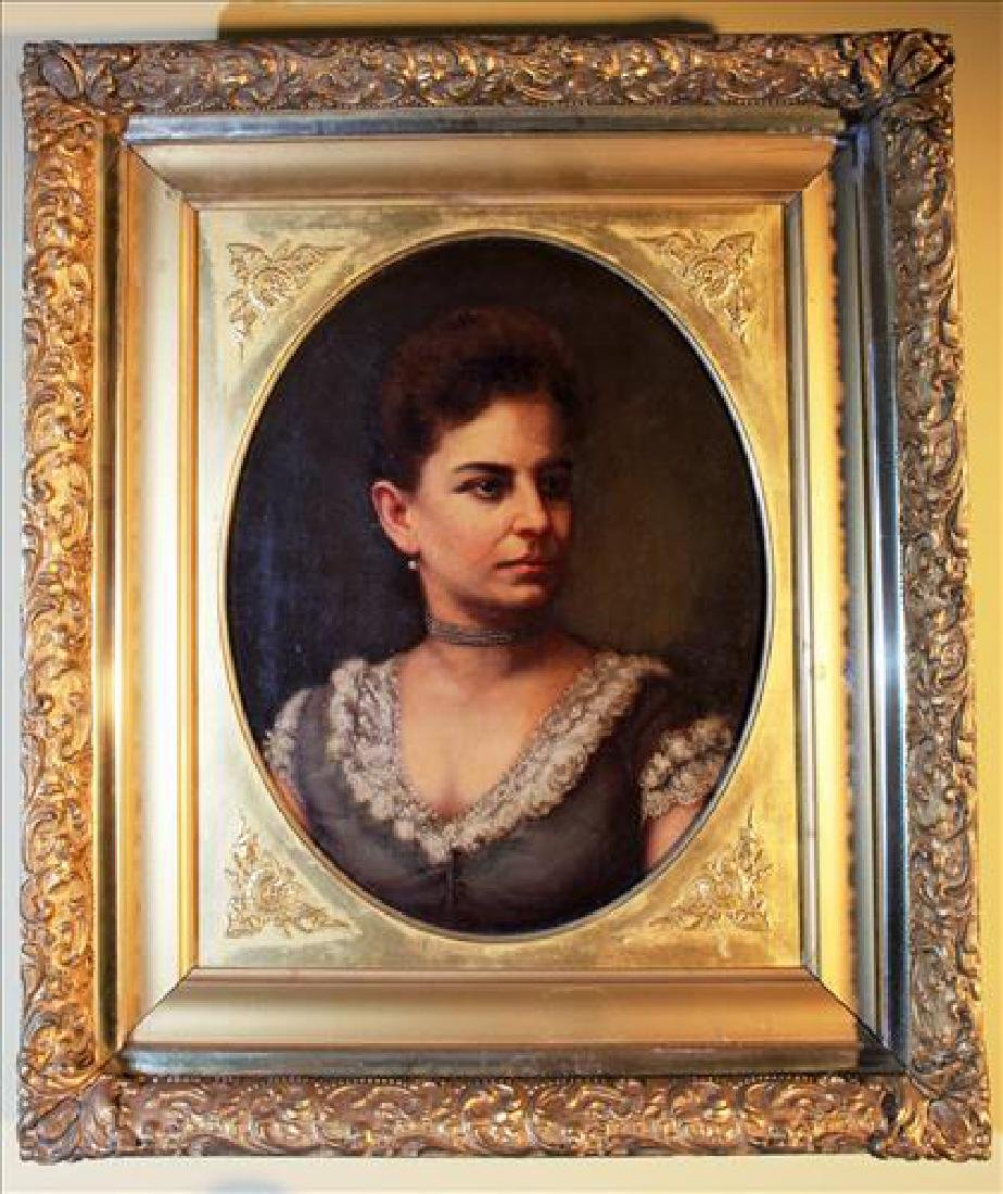 Oil on canvas of Victorian lady w ornate gold frame,